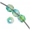 Fire polished 4mm Crystal/bright Green/ Aqua Two-tone Aurora Borealis